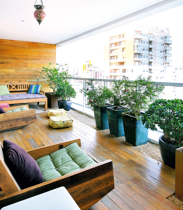 Painel madeira varanda
