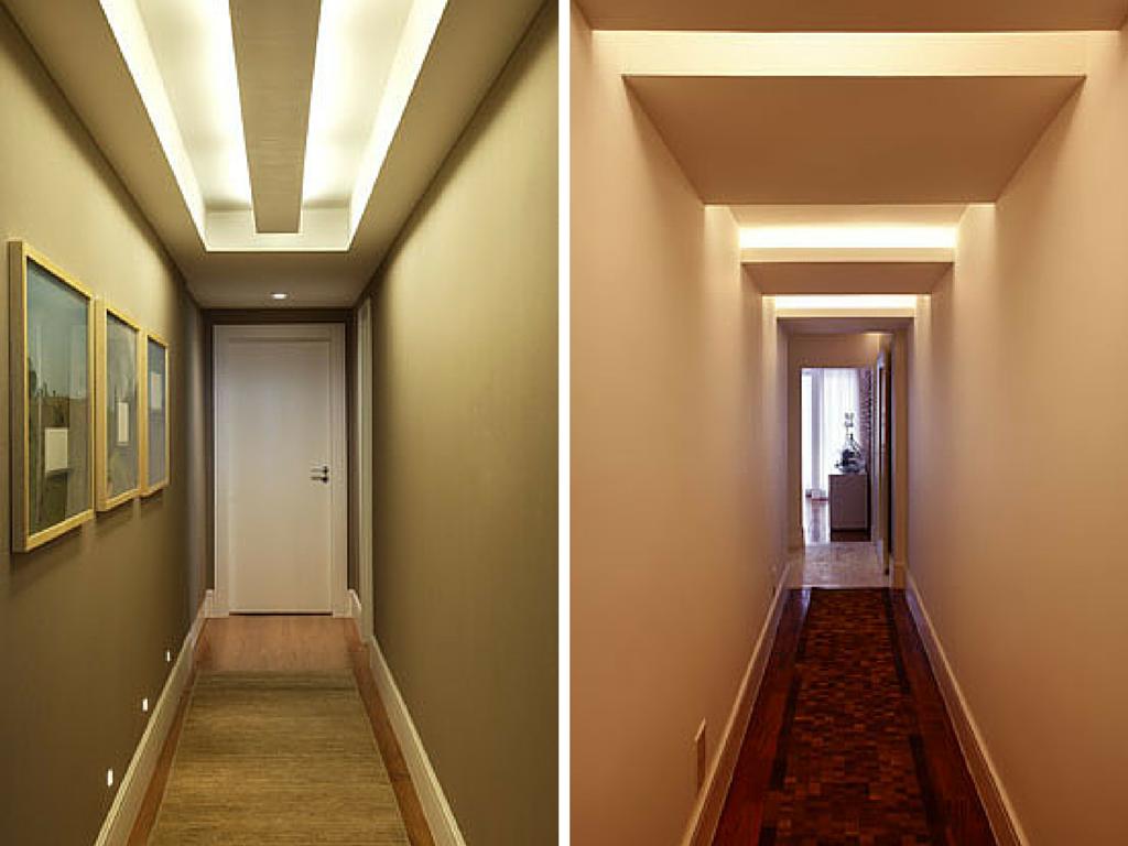 Corredor, decorando o corredor, iluminação no teto, iluminação, Casa Casada