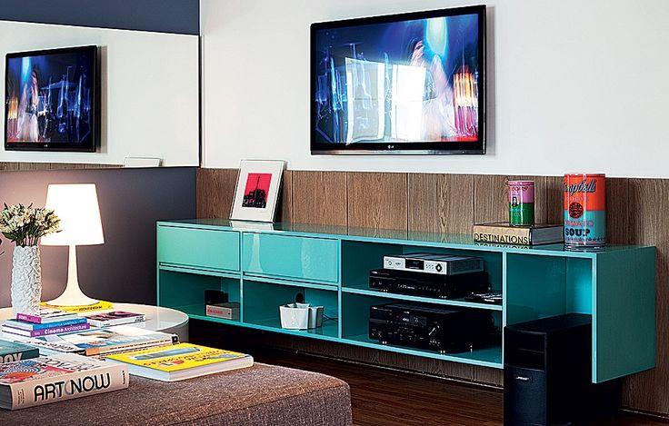 azul tiffany na sala, Projeto Francisco Calio, casa casada