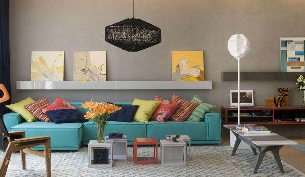 sofá azul tiffany, sofá colorido, projeto paula nedewr