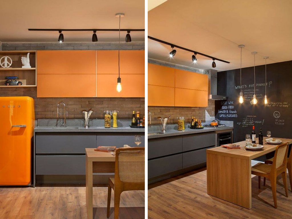 07 cozinhas com armário colorido Casa Casada #CB4E00 1024 768