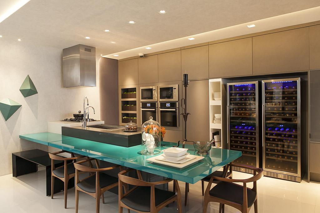 azul turquesa na cozinha
