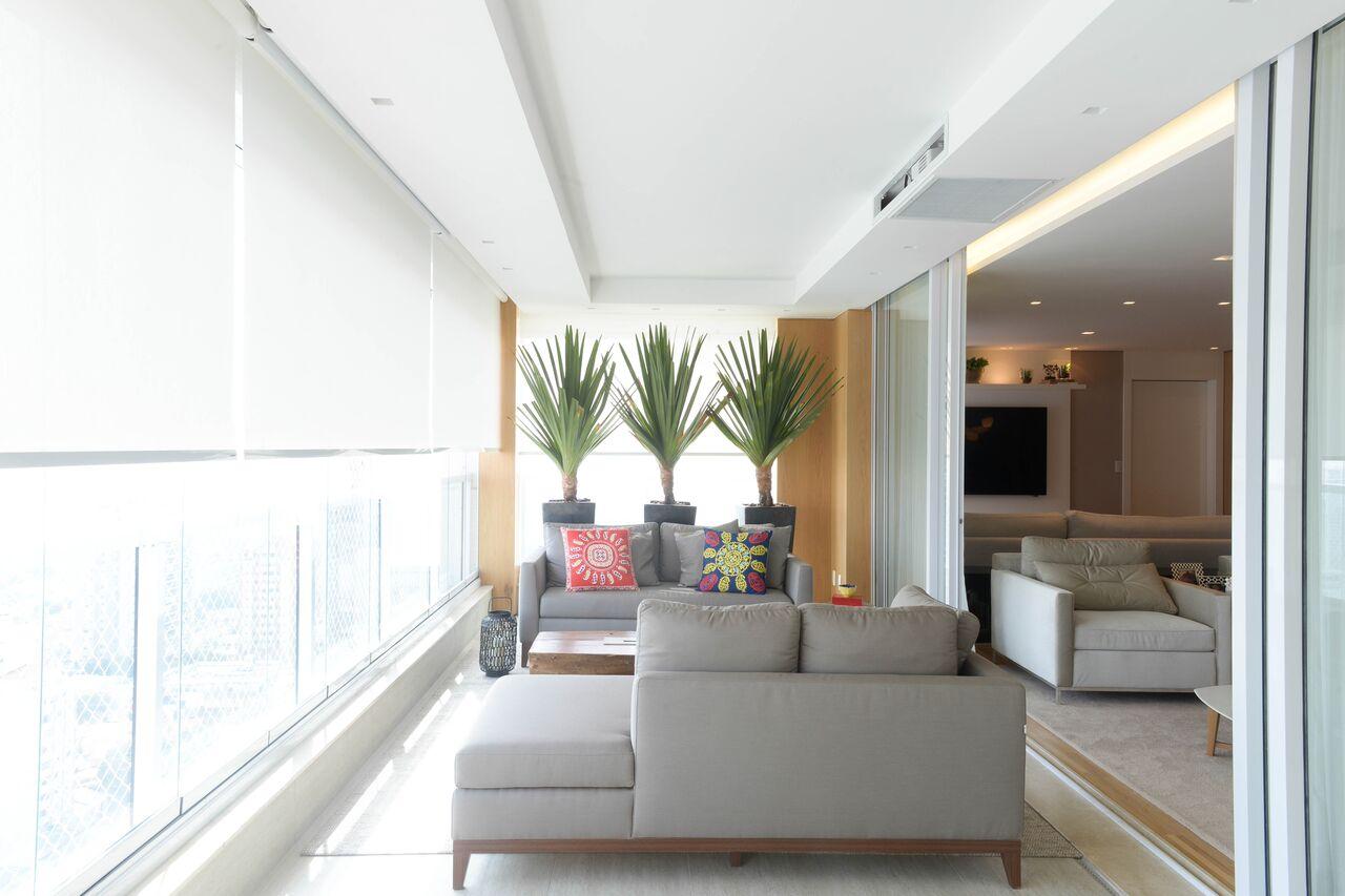 decoração contemporânea, apartamento acolhedor, varanda em L