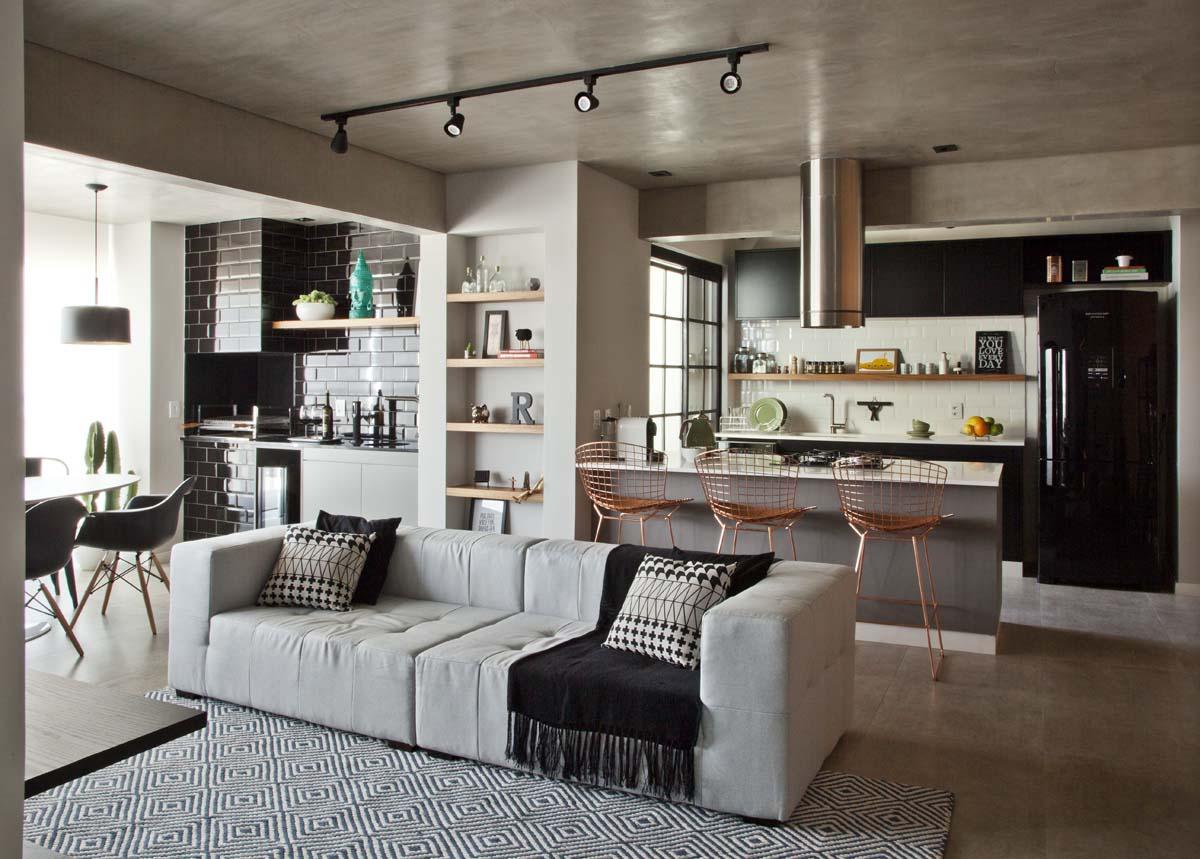 Ambientes integrados e décor com toques retrô e industriais (11)