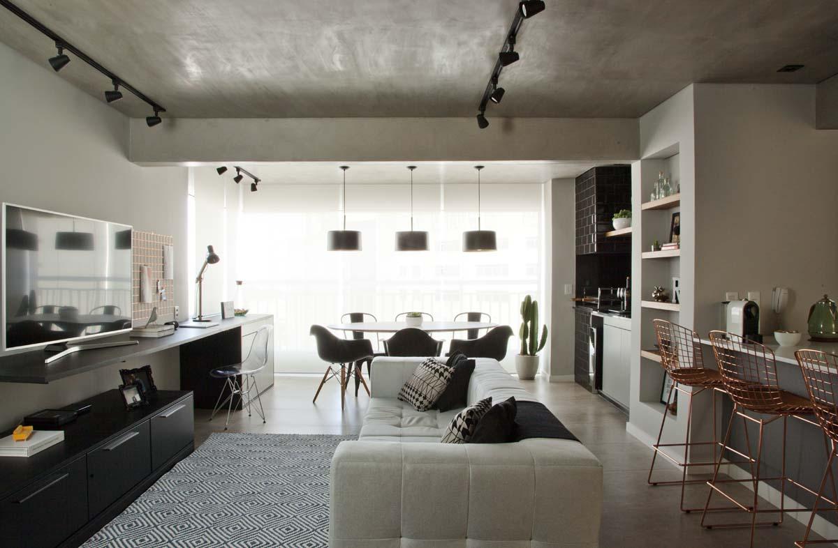 Ambientes integrados e décor com toques retrô e industriais (4)